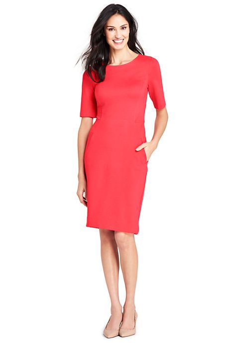 f80f50564e Women's Elbow Sleeve Ponte Sheath Dress--bold coral, 6T | Style ...