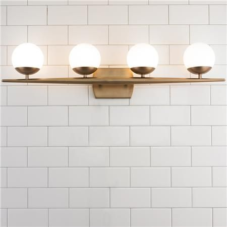 Lighting update for hallway bathroom | Linear Globe Bath Light - 4 Light