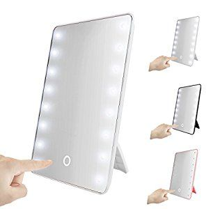 Smart Touch 16LED Lighted Vanity Mirror Makeup Cosmetic Countertop Cordless Table Mirror The Modern-looking magical makeup mirror with 16 leds circled is a perfect decor to add much ambience to your bedroom/bathroom/countertop.