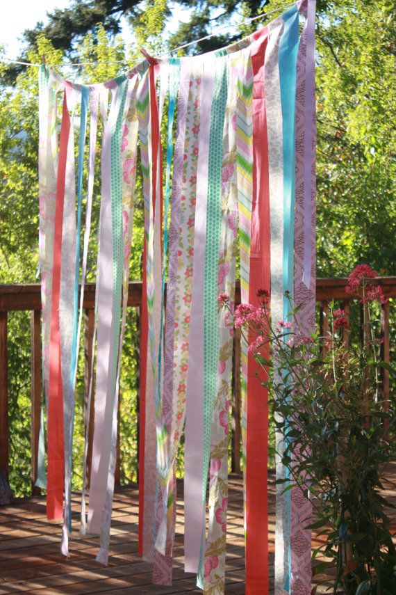 Sale, Long Fabric Strips, Photo Prop, Wedding Decoration, Festive and FUN. Mix Colors and Prints, Mostly Pink, Aqua, Yellow. Ready to Ship.