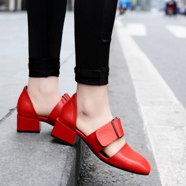 Women Retro Block Cuban Heel Square Toe Buckle Strap Oxford Shoes Casual  British