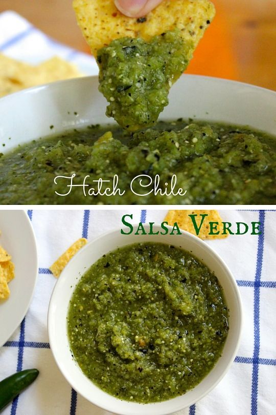 Hatch Chile Salsa Verde! A delicious green salsa made with spiciy hatch chiles! via livelytable.com @livelytable