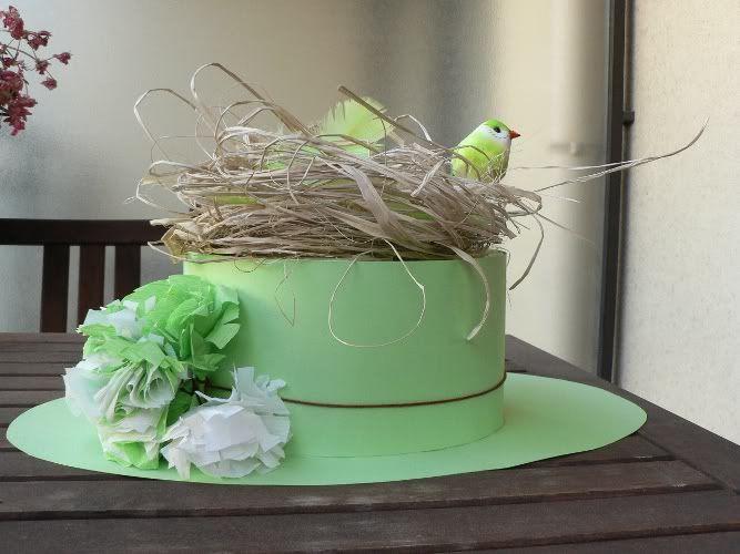 bricolage chapeau en carton oiseaux nid et fleurs en papier cr pon scrap papier carton. Black Bedroom Furniture Sets. Home Design Ideas