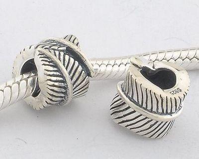 """General Gifts – Accesorios de joyería – 925 estilo europeo antiguo plata """"pluma"""" encantos/perlas de plata para pandora, biagi, chamilia, troll y más pulseras  #GeneralGiftsAccesorios #bisuteria #jewellery"""
