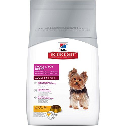 Hills Science Diet Adult Small & Toy Breed dog food provides precisely balanced easy-to-digest nutrition tailored for small & toy breeds.  Lifestage:Adult Ingredients: Ingredients:Chicken Meal Whole...