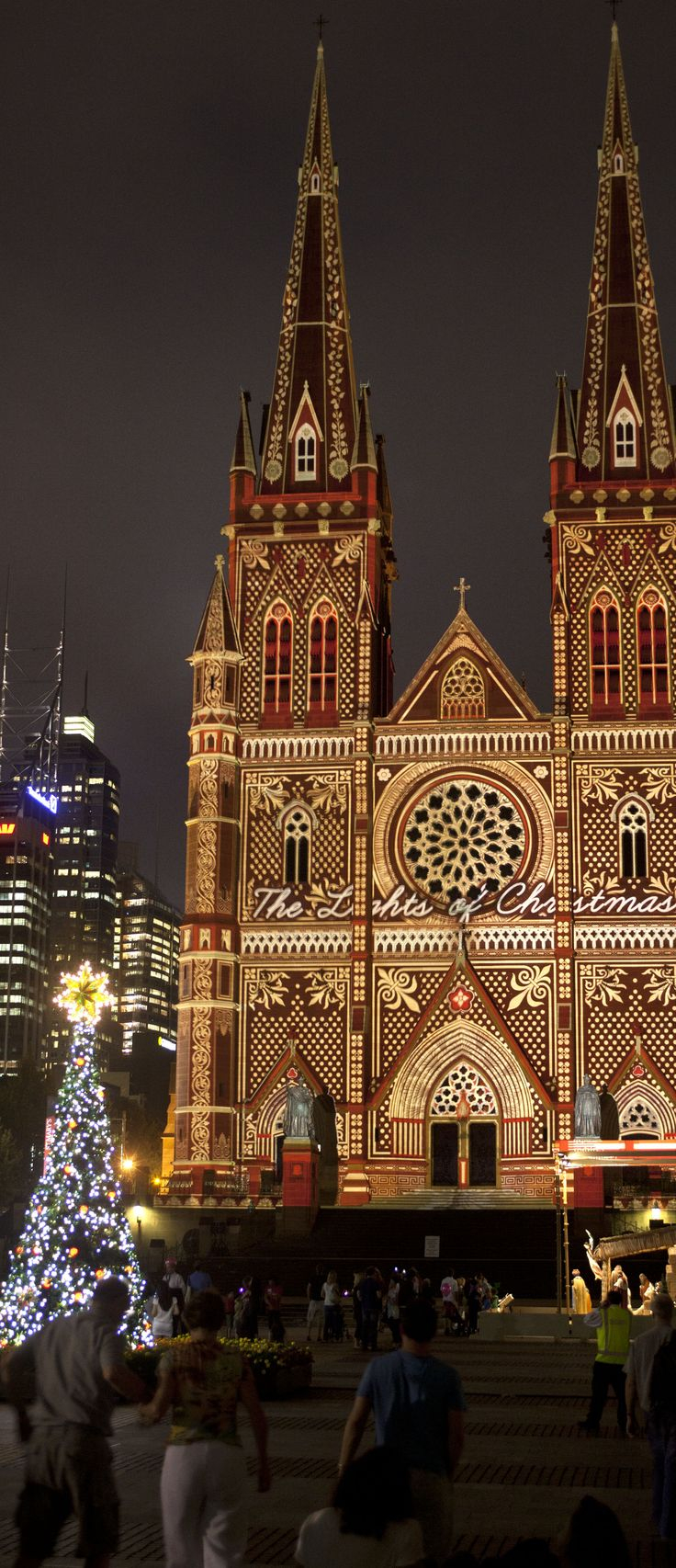 Christmas lights, St Mary's Cathedral in Sydney, Australia