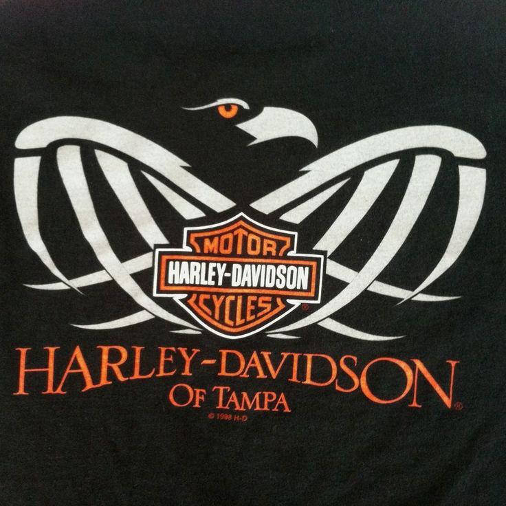 harley davidson large tampa florida eagle black t tee
