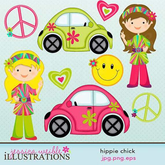 Hippie Chick Cute Digital Clipart for Card Design, Scrapbooking, and Web Design