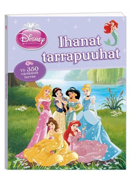 Prinsessat: Ihanat tarrapuuhat  tarjoaa tekemistä pitkäksi aikaa. Voit täydentää kuvia, sovitella tarroja varjokuvien päälle ja tehdä hauskoja yhdistelytehtäviä. Kirjassa on satoja tarroja, joiden parissa puuhaillessa aika lentää! Samalla opit Tuhkimon, Lumikin, Bellen ja muiden Disney-sankaritarten kanssa vastakohtia, muotoja, numeroita ja värejä.