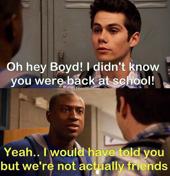Boyd and stiles. Teen wolf, Stiles looked so upset after that