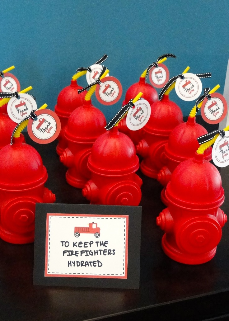 """firetruck theme birthday party ideas favors fire hydrant cups to """"keep the firefighters hydrated"""""""