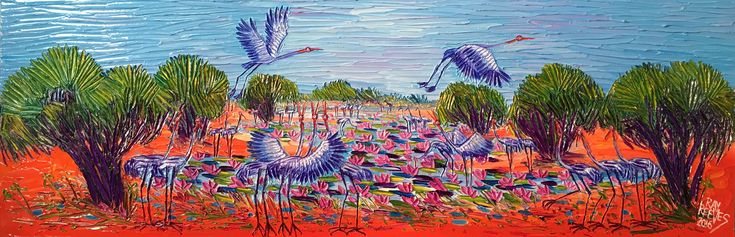 """Brolga Billabong"" acrylic on canvas artist Ray Reeves"