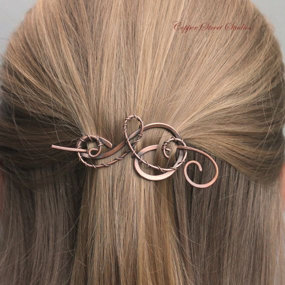 Small Hair Barrette, Shawl Pin, Copper Wire Wrapped Swirls, Hair Stick, Metal Hair Clip, Hair Pin Hair Accessories for Women Gift for her