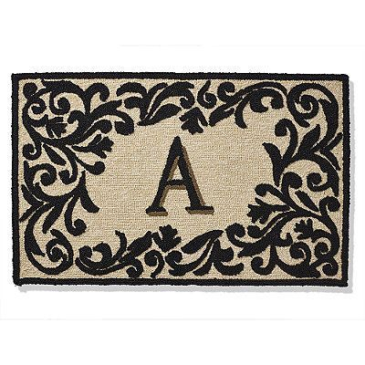 """Trapunto Monogrammed Entry Mat - Green, Y, 36"""" X 72"""" - Frontgate"""