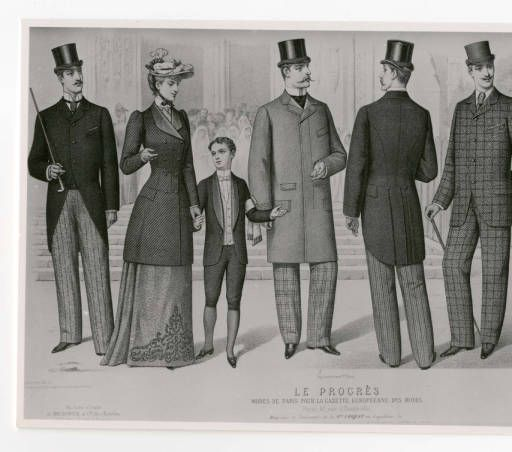 "Men 1890-1900, Plate 054. The Costume Institute Fashion Plates. The Metropolitan Museum of Art, New York. Gift of Woodman Thompson (b17509853) | This fashion plate is titled Progress (""Le Progrès"") #fashion"