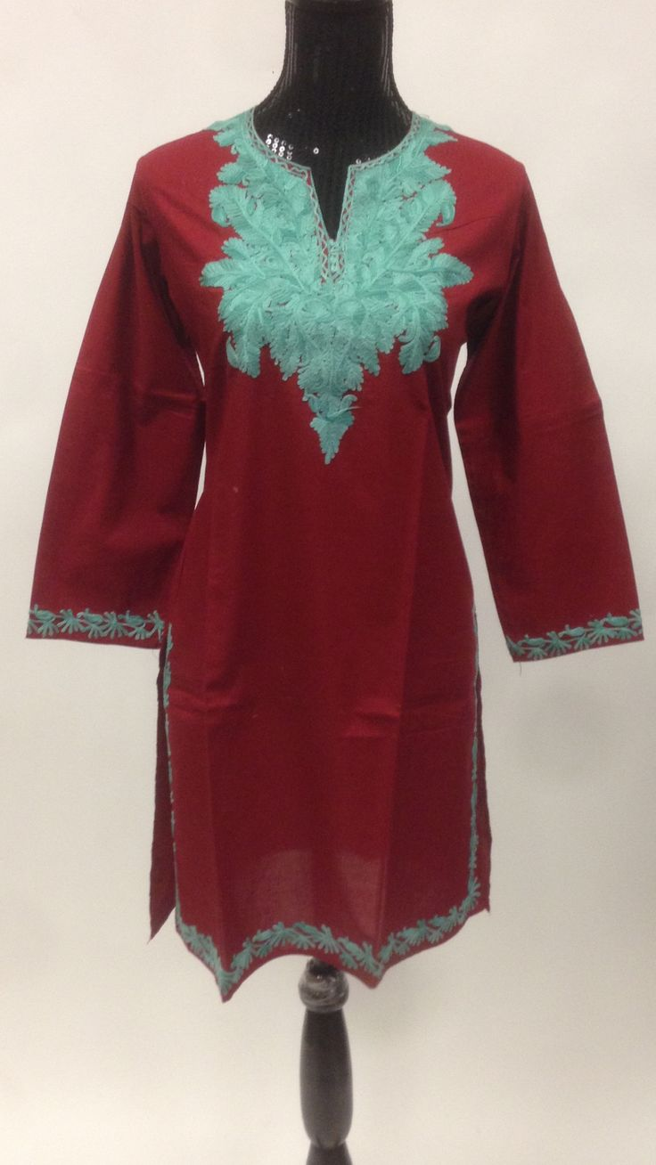 Kashmiri embroidered long cotton kurti products and cotton