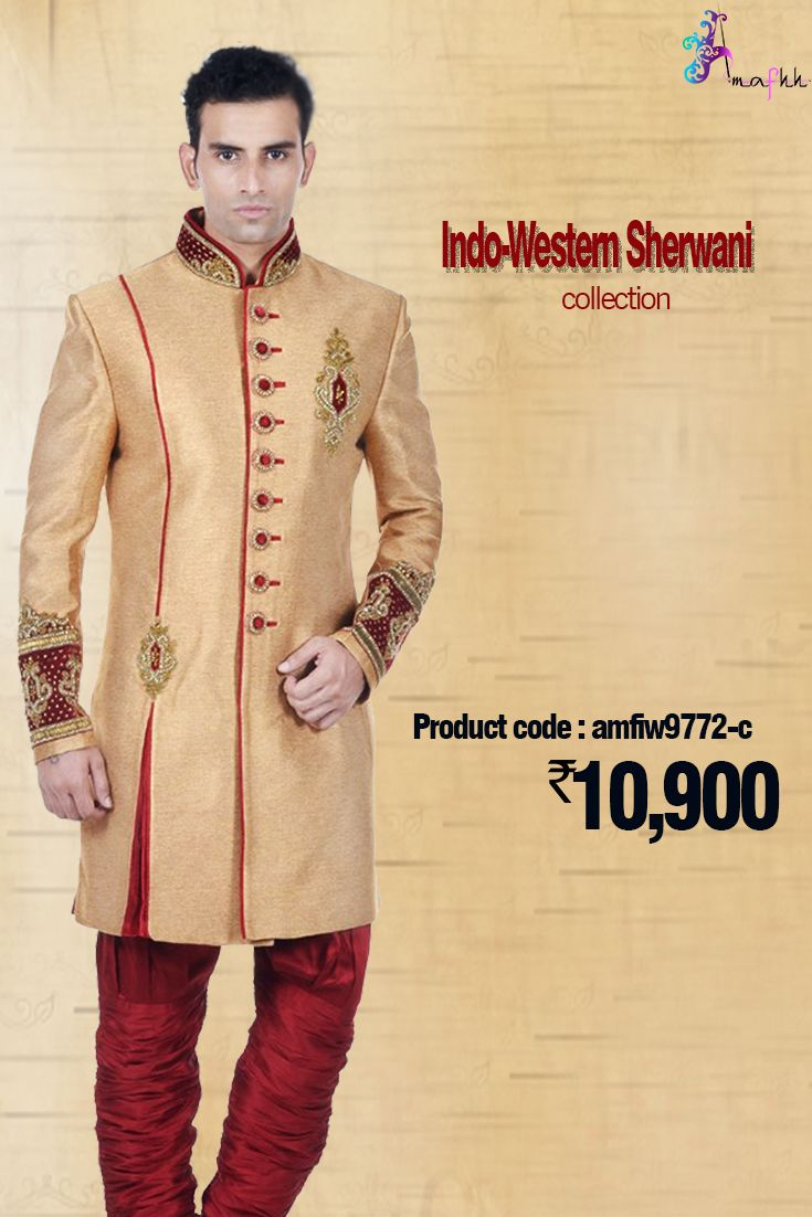 Gold #Silk #IndoWestern #Sherwani Just a Jaw dropping sale this monsoon #wedding season for Men's #EthnicWear in Sherwani at an unbelievable Price. A #designerpiece with enough detailing of #zardosi foliage applique on the neckline and chest, with bead and crystal work #sherwani #indowestern #menswear #stylish #fashion #onlineshopping #designersherwani   #weddingwear #groomfashion #groomswear #discount #shop #trendy #ethnicfashion