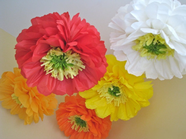Poppy Love -5 Giant Hanging Paper Flowers -18-20 inch- Flower Series Party Blooms by Whimsy Pie oversize flower decor. $32.50, via Etsy.