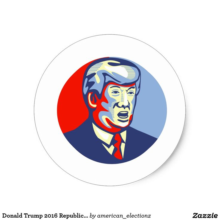 Donald Trump 2016 Republican Candidate Classic Round Sticker. 2016 American elections classic round sticker with an illustration showing American real estate magnate, television personality, politician and Republican 2016 presidential candidate Donald John Trump set inside circle isolated background done in retro style. #Trump2016 #republican #americanelections #elections #vote2016 #election2016