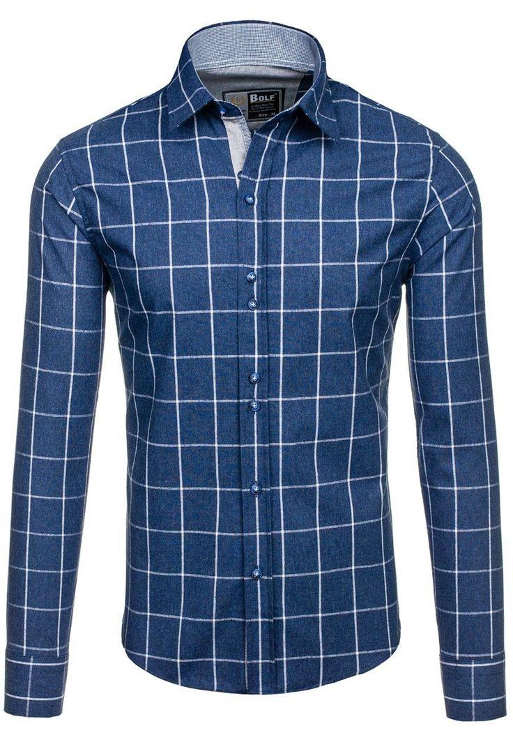 Pánská tmavě modrá kostkovaná košile s dlouhým rukávem Bolf 6915 Tmavě modrá kostkovaná košile je vhodnou nabídkou na každý den, ke klasickým a moderním streetovým outfitům!