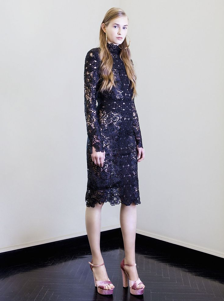 PR 1770 Embroidered Cut Lace High Neck Dress, Black