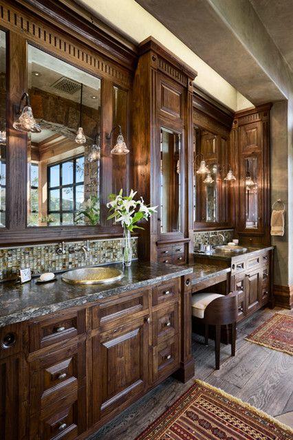 Rustic Bathroom,  heated flooring. love this for my Masterbathroom