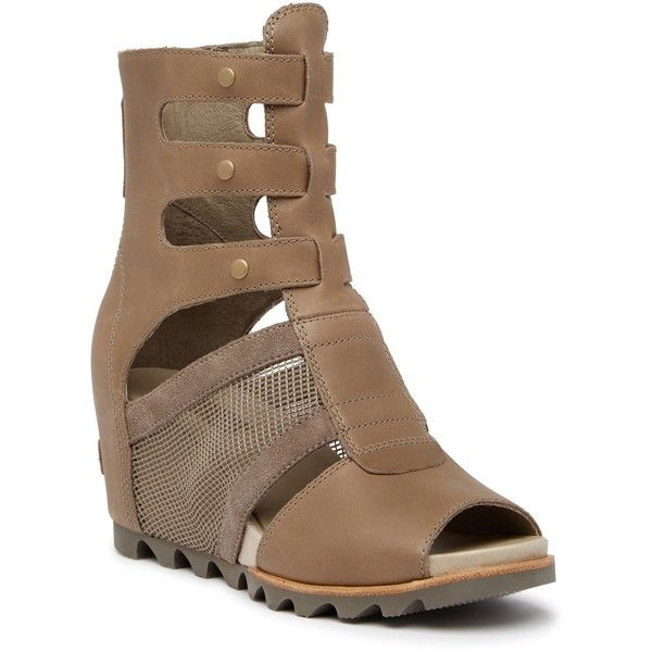 Sorel Joanie Gladiator Leather Sandal ($60) ❤ liked on Polyvore featuring shoes, sandals, pebble, roman sandals, studded sandals, studded gladiator sandals, gladiator wedge sandals and platform gladiator sandals