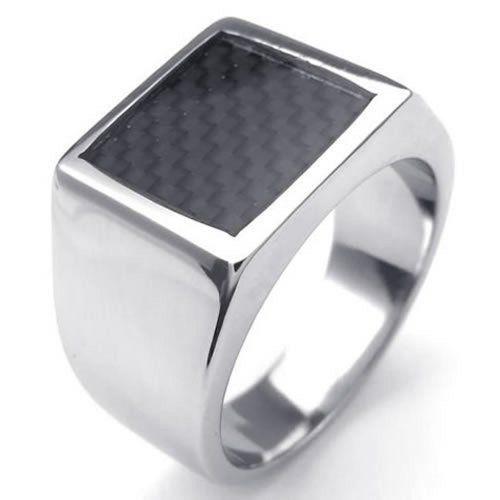 KONOV Schmuck Herren-Ring, Damen-Ring, Edelstahl Kohlefaser Inlay, Siegelring, Schwarz Silber - Gr. 62