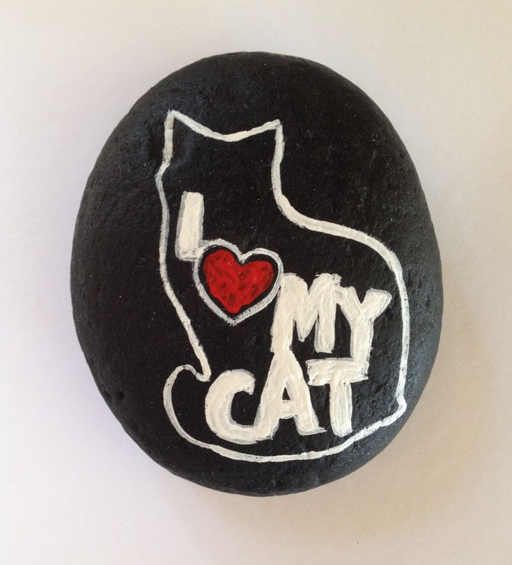 Painted River Stone, I love my cat, Black and White by MaineMtnArtistry on Etsy https://www.etsy.com/listing/470957828/painted-river-stone-i-love-my-cat-black