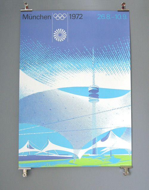 The first poster designed for the Munich Games featured the new emblem and set the tone for the sports posters – The Olympiastadion had yet to be built (the tower was built in 1968), so the architectural model was photographed instead, the stadium's roof conveyed using a pair of stockings.