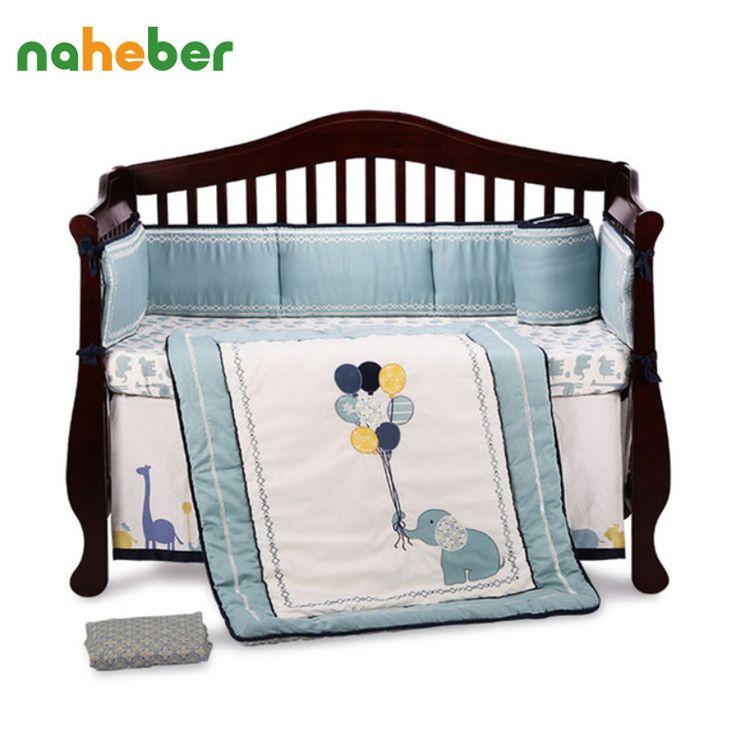 8 pcs bumpers crib bedding bedding set elefante dos desenhos animados do bebê recém-nascido de algodão/colcha/lençol/cama saia/cobertor para cama berço(China (Mainland))