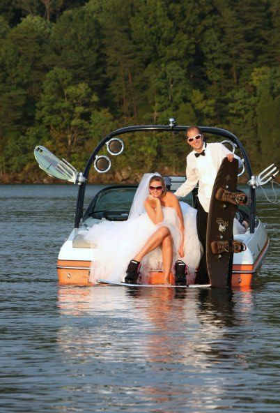 Wakeboarding in a wedding dress...this may have to be my trash the dress!