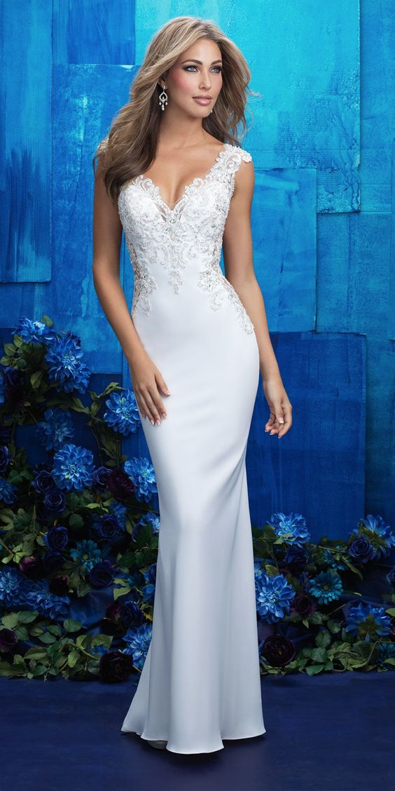 @AllureBridals - Curve-hugging and dazzling all at once, this gown is a showstopper from Allure Couture SPRING 2017 COLLECTION. Dress style 9417F. Crepe, Beaded Embroidery, and English Net #weddingdress #ad