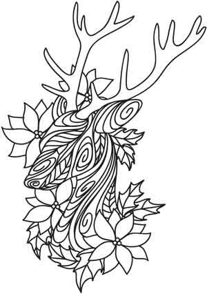 Doodle Reindeer and Poinsettias | Urban Threads: Unique and Awesome Embroidery Designs: this could be copied into word and stretched some I bet.