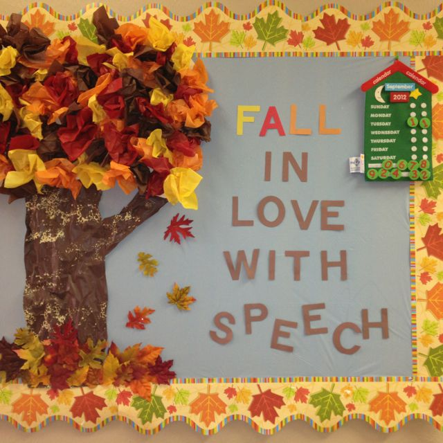 Fall bulletin board for speech therapy  Re-Pinned by Penina Penina Rybak MA/CCC-SLP, TSHH CEO Socially Speaking LLC YouTube: socialslp Facebook: Socially Speaking LLC www.SociallySpeakingLLC.com Socially Speaking™ App for iPad:  http://itunes.apple.com/us/app/socially-speaking-app-for/id525439016?mt=8