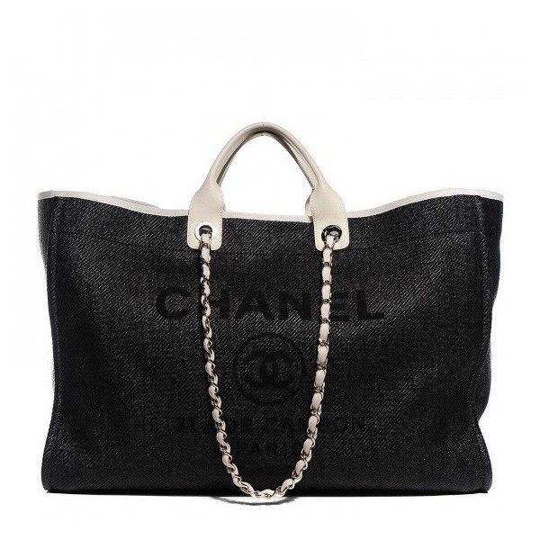 CHANEL Canvas Large Deauville Tote ❤ liked on Polyvore featuring bags, handbags, tote bags, chanel tote, chanel tote bag, zip tote, black canvas tote bag and black purse