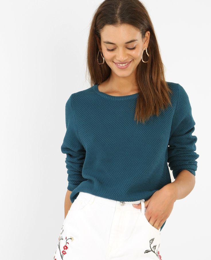 Pull maille fantaisie - Le pull à col rond est un essentiel de la garde-robe !