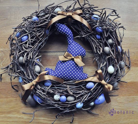Easter wreath violet rabbit bunny by botanicbotanic on Etsy