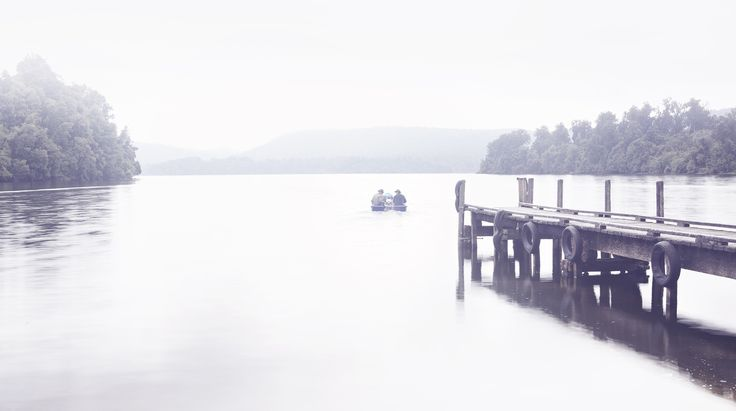 Jetty Boat, Don't forget the rods, West Coast fishing, Lake fishing NZ, Camping, Calm Water, Mist.