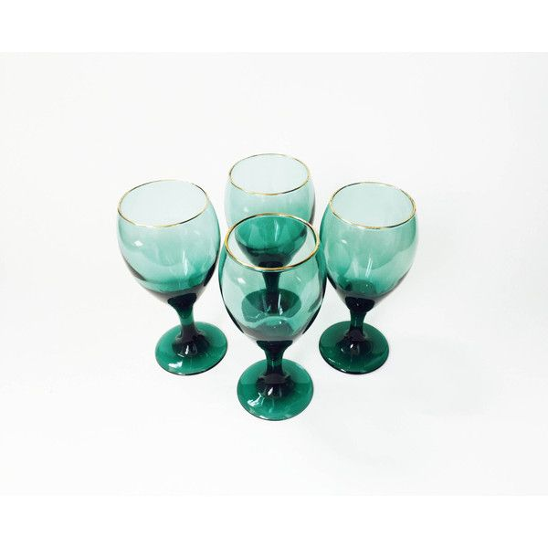 Mid Century Emerald Green Wine Glasses Set of 4 Gold Rims ($46) ❤ liked on Polyvore featuring home, kitchen & dining, drinkware, wine glass, gold rimmed wine glasses, coloured wine glasses, colored glass drinkware and colored wine glass
