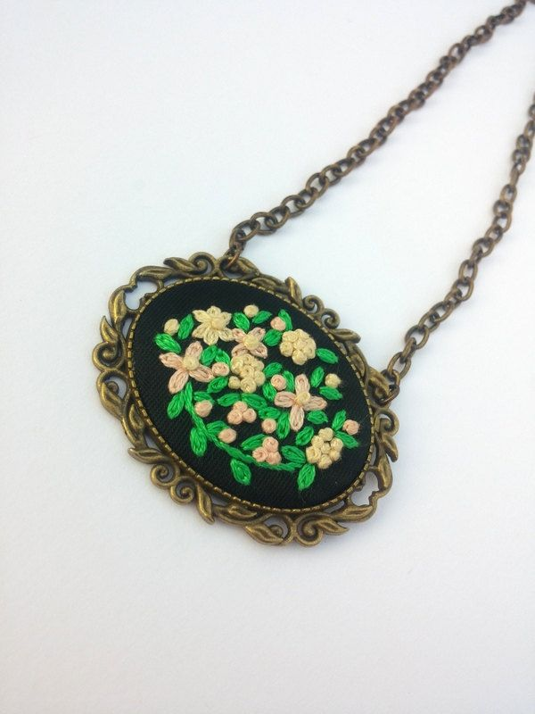 Flower Necklace, Vintage Style Necklace, Bronze Chain Necklace, Embroidered Jewelry, Rustic Jewelry by RedWorkStitches on Etsy