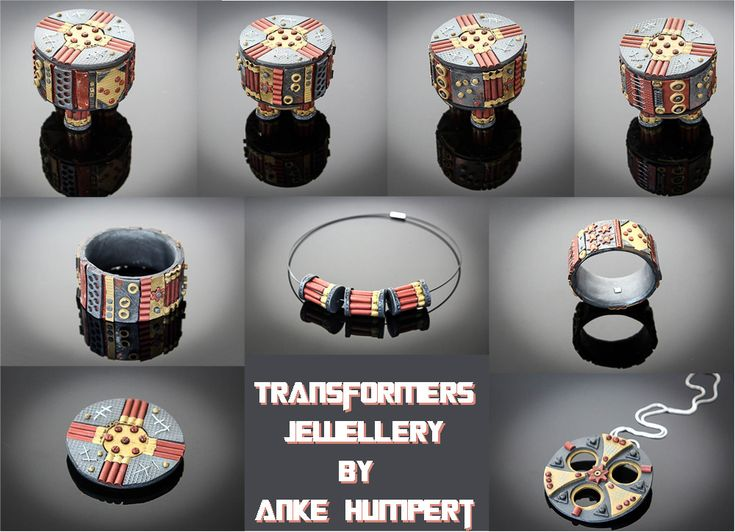https://flic.kr/p/xy525c | transformers jewellery | Transformers Jewellery - transforming set of pieces. Anke Humpert 06/2015 Polymer clay, metal, paints. I will be teaching this class at the 11. Orlando Clay Fandango in May 2016 (link will be added as soon as I have it)