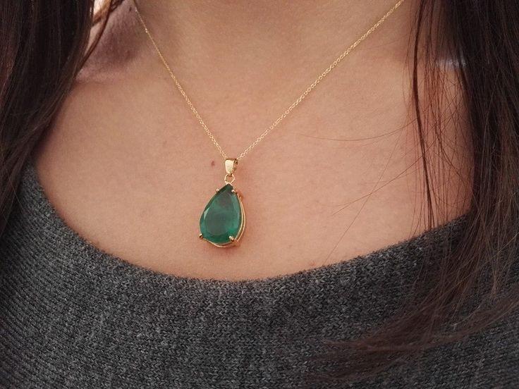 14Κ Gold with Emerald Stone Pendant - 14Κ χρυσό με Σμαραγδίτη Μοτίφ