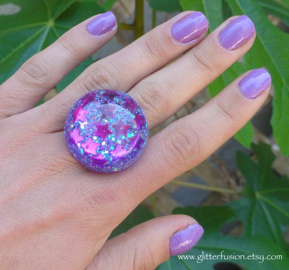 Reserved Item Purple Star Resin Bubble Ring by GlitterFusion