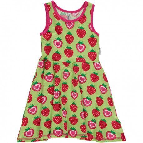 Dress gathered, strawberries green, Maxomorra