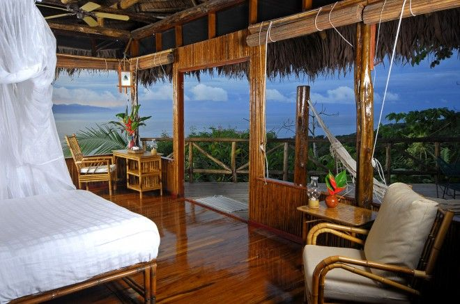 A room in the Lapa Rios Lodge, located in the Lapa Rios Reserve