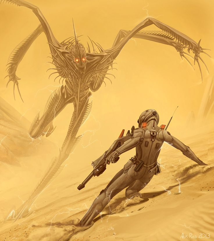 The Shrike  & Coronel Kassad. From Hyperion Cantos Wiki.
