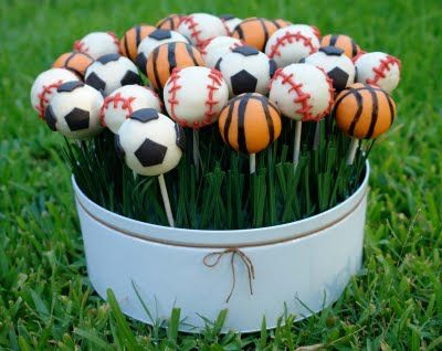 sports themed centerpiece with cake pops