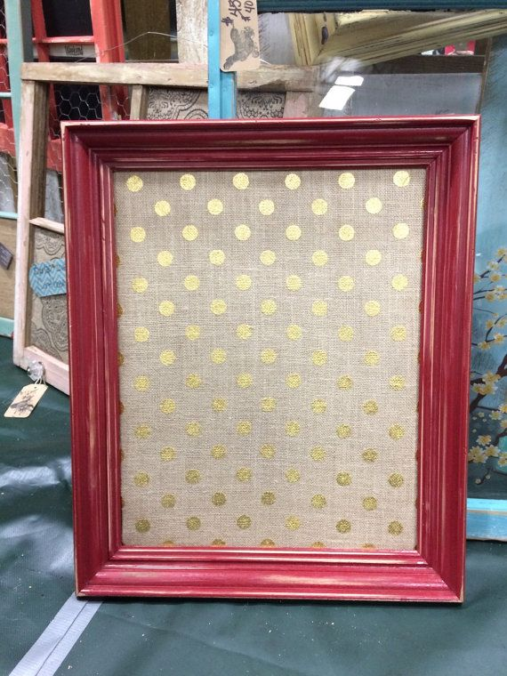 Framed Cork Bulletin Board - Burlap with GOLD Polka Dots - RED Shabby Chic Frame - 20x24- Farmhouse Modern Chic - Memo Message board