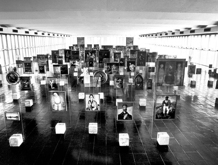 #Mousse61 #MousseMagazine View of the picture gallery of MASP on Avenida Paulista, 1970s. Lina Bo Bardi, exhibition design. Photo: Luiz Hossaka